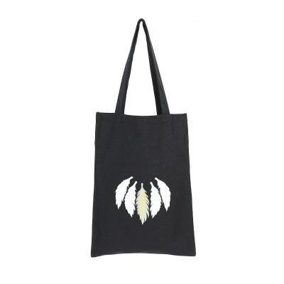 Tas Five Feathers zwart zwarte canvas tassen dames witte veren print boho bags online grote zwarte itbags