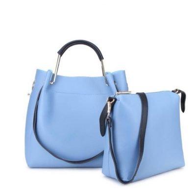Tas Nienke blauw licht blauwe tassen binnen tas dames fashion itbags Bag in Bag handtassen schoudertassen online