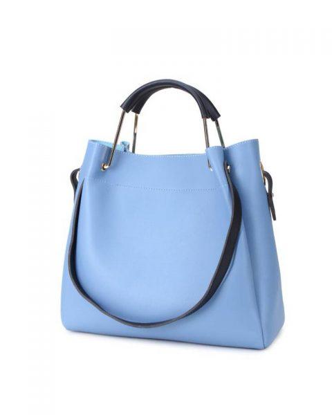 Tas Nienke blauw licht blauwe tassen binnen tas zwart hengsels dames fashion itbags Bag in Bag handtassen schoudertassen online