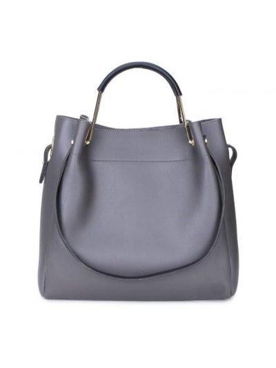 Tas Nienke grijs grijze taupe grey tassen binnen tas zwart hengsels dames fashion itbags Bag in Bag handtassen schoudertassen online