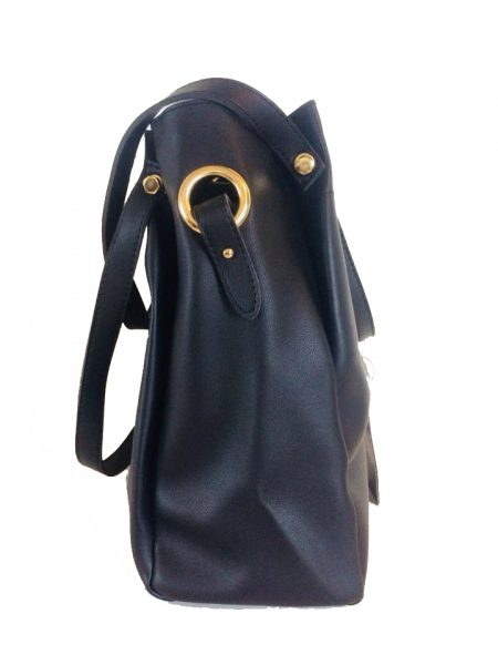 Tas Nienke zwart zwarte black tassen binnen tas zwart hengsels dames fashion itbags luxe Bag in Bag handtassen schoudertassen online buy