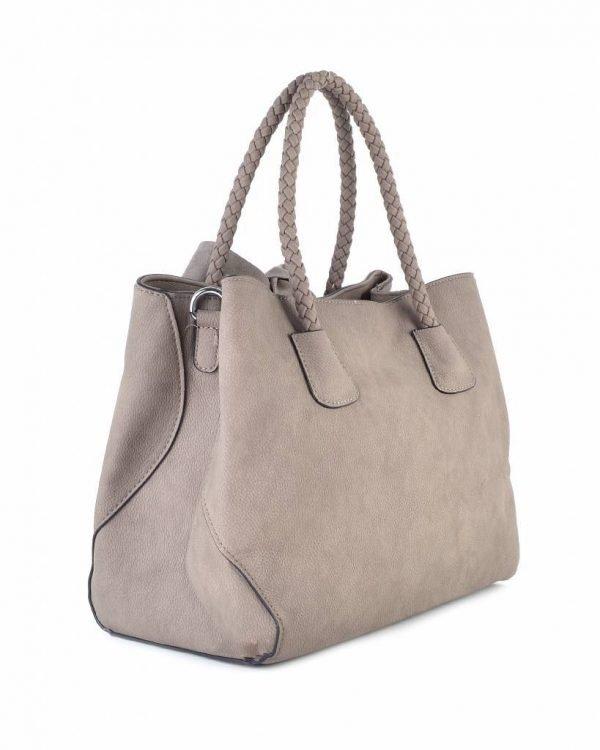 Tas-Suede-strik beige creme nude-dames-handtas-met-grote-strik-fashion-tassen-goedkope-giuliano-tassen suedine itbags side