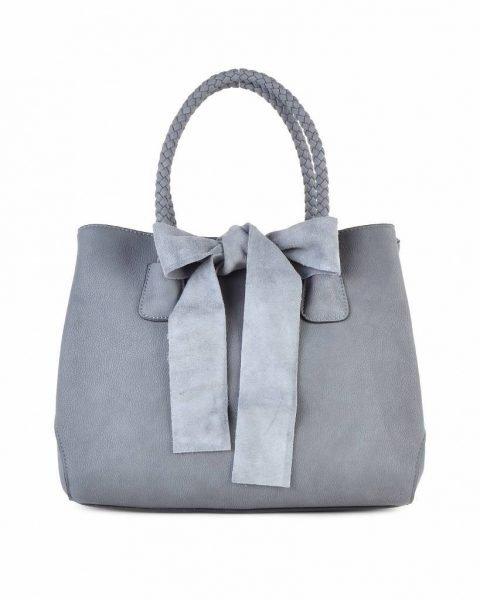Tas-Suede-strik grijs grijze -dames-handtas-met-grote-strik-fashion-tassen-goedkope-giuliano-tassen suedine itbags