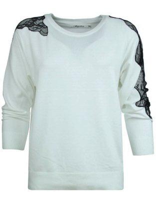 Trui Filine Lace wit witte dames truien met zwart kant op de mouwen winter kleding sweaters fashion online