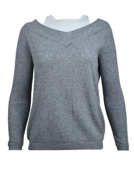 Lange Sweater Trui.Trui Mandy Musthave Warme Zwarte Grijze Truien Met Tank Top Hals