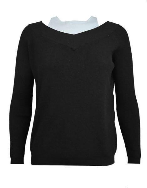 Trui Mandy zwart zwarte black geribbelde warme dames truien met v hals lange mouwen winter sweater sweaters fashion
