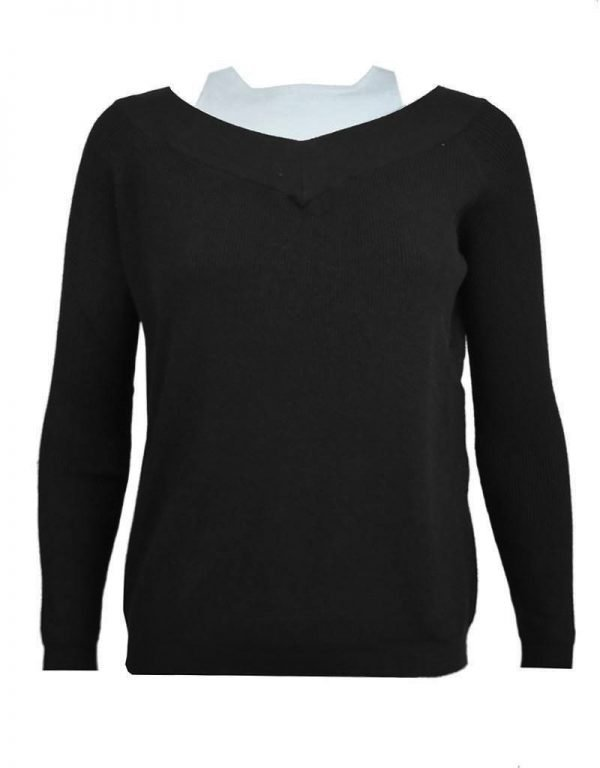 Trui Mandy zwart zwarte black geribbelde warme dames truien met v hals lange mouwen winter sweater sweaters fashion