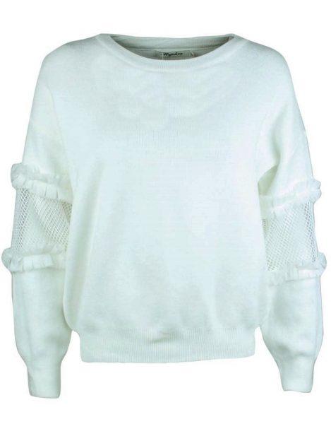 Trui Syl wit witte fijn gebreide dames truien met stuk doorzichtige mouwen white sweaters fashion musthaves