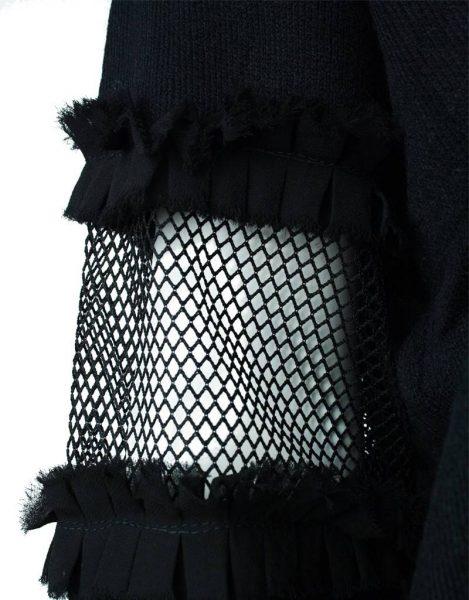 Trui Syl zwart zwarte fijn gebreide dames truien met stuk doorzichtige mouwen white sweaters fashion musthaves