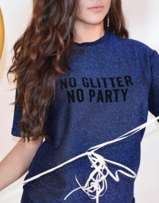 Tshirt dress No glitter no party blauw blauwe glitter jurk met tekst fashion dresses party jurken online bestellen