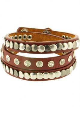 Armband Studs & Stones bruin bruine lange wikkel armband met zilveren studs musthave fashion bracelets dames online