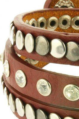 Armband Studs & Stones bruin bruine lange wikkel armband met zilveren studs musthave fashion bracelets dames online kopen