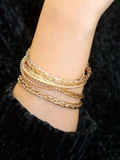 Bracelet Spinner-Bracelets Gold golden ladies open -new