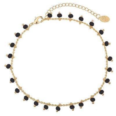 Enkelbandje Tiny Beads-goud gouden-enkel bandjes zwarte steentjes dames-enkelbandjes-online-bestellen-kopen -ankle-strap-
