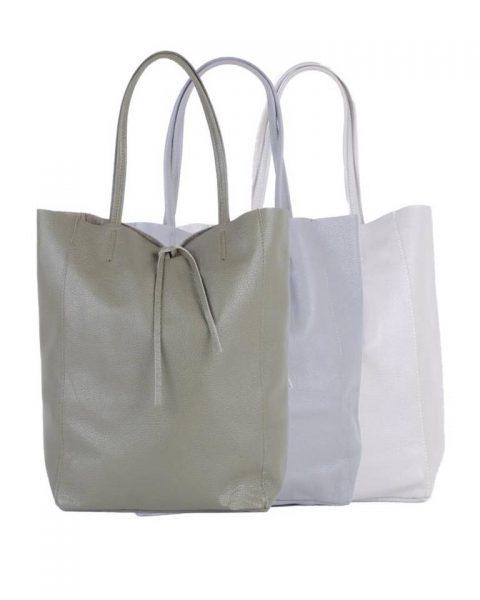 Leren-Shopper-Simple-grijs grijze groen groene-ruime-dames-shopper-zacht-leer-online-luxe-dames-tassen-italie-bestellen-557x600