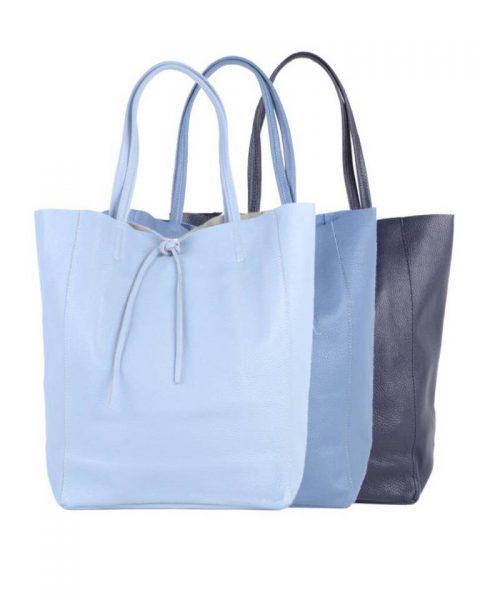 Leren-Shopper-Simple-licht donker jeans blauw blauwe-ruime-dames-shopper-zacht-leer-online-luxe-dames-tassen-italie-bestellen-557x600