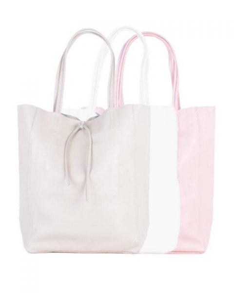 Leren-Shopper-Simple-taupe roze wit witte pink-ruime-dames-shopper-zacht-leer-online-luxe-dames-tassen-italie-bestellen-557x600