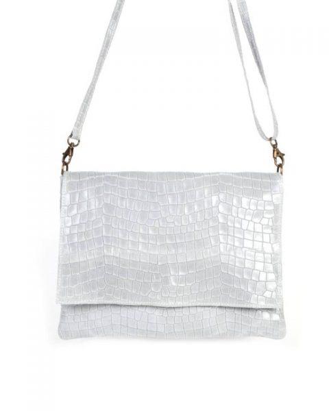 Leren Tas Croco Love grijs grijze schoudertas clutch dames tassen giulano kroko leder musthave fashion itbags online