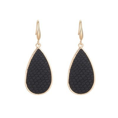 Oorbellen Snakeskin zwart zwarte gouden oorbel oorhangers met slangenprint fashion earrings black gold online fashion