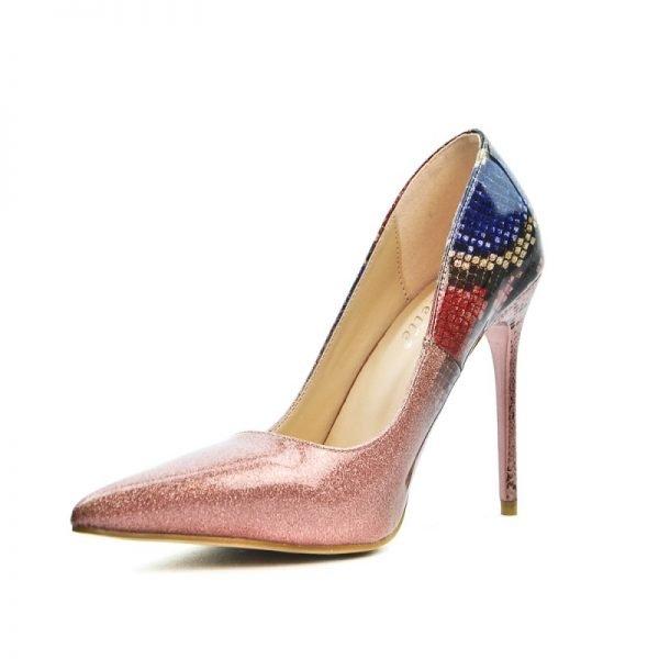 Pumps Glittery Snake roze pink rood blauwe multicoller glans pumps hakken slangenprint detail musthave glitter heels fashion online kopen