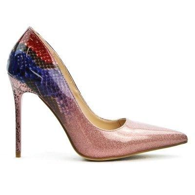 Pumps Glittery Snake roze rood blauwe multicoller glans pumps hakken slangenprint detail musthave heels fashion online