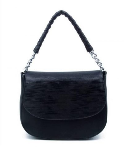 Tas-Maya-zwart-zwarte-dames-schoudertassen-korte-zilveren-hengsel-dames-tassen-it-bags-guiliano-online kopen