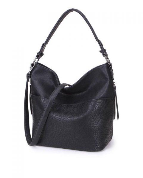 Tas Pattie zwart zwarte dames handtassen giulliano kunstleder stoere tassen vrouwen online kopen bestellen itbags