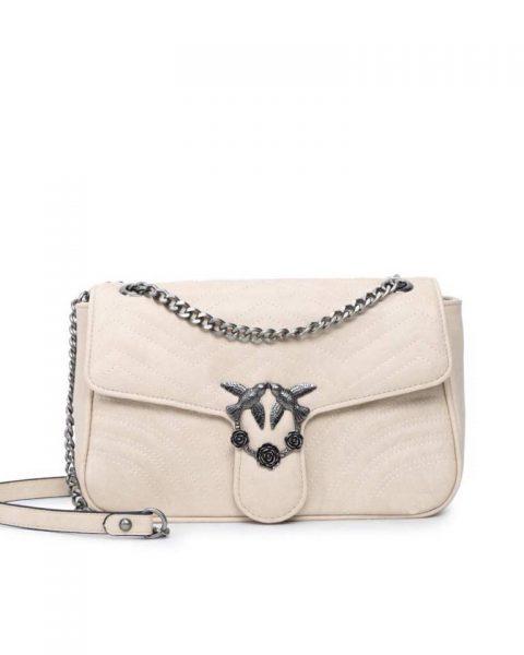 Tas-birds XL-beige nude creme-kunstlederen-it-bag-schoudertas-kettinghengsel-zilveren-vogel-en-rozen-sluiting-musthave-fashion-tassen-online giuliano