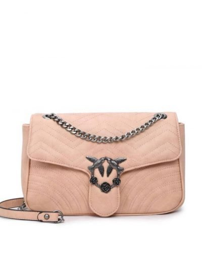 Tas-birds XL-roze pink kunstlederen-it-bag-schoudertas-kettinghengsel-zilveren-vogel-en-rozen-sluiting-musthave-fashion-tassen-online giuliano