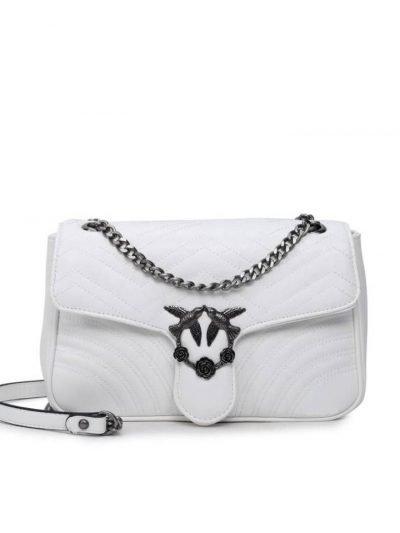 Tas-birds XL-wit witte kunstlederen-it-bag-schoudertas-kettinghengsel-zilveren-vogel-en-rozen-sluiting-musthave-fashion-tassen-online giuliano