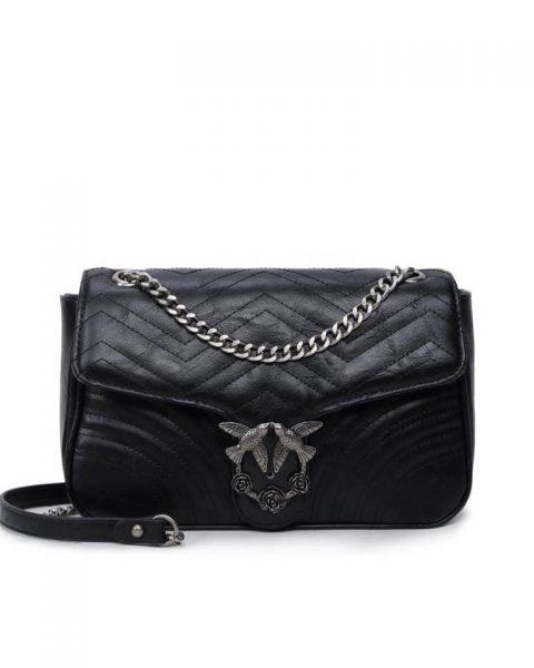 Tas-birds XL-zwart zwarte-kunstlederen-it-bag-schoudertas-kettinghengsel-zilveren-vogel-en-rozen-sluiting-musthave-fashion-tassen-online giuliano