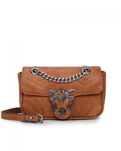 Tas-birds-bruin bruine kunstlederen-it-bag-schoudertas-kettinghengsel-zilveren-vogel-en-rozen-sluiting-musthave-fashion-tassen-online vrouwen bestellen