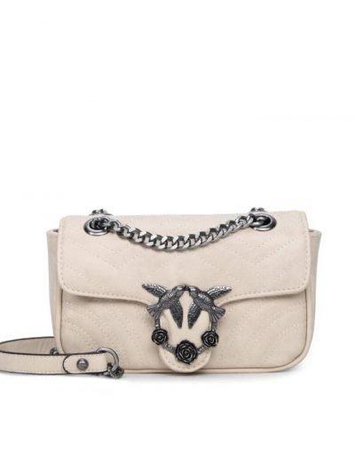 Tas-birds-creme nude off white-kunstlederen-it-bag-schoudertas-kettinghengsel-zilveren-vogel-en-rozen-sluiting-musthave-fashion-tassen-online vrouwen bestellen