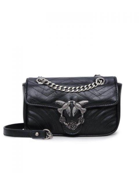 Tas-birds-zwart zwarte-kunstlederen-it-bag-schoudertas-kettinghengsel-zilveren-vogel-en-rozen-sluiting-musthave-fashion-tassen-online vrouwen bestellen