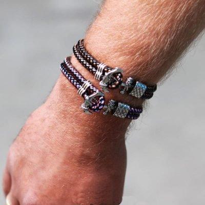 Armband Sailor zwart bruine brede stoere armbanden mannen met zilveren anker slot kado man online bestellen Bracelet for men nu
