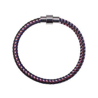 Armband Sailor zwart rood blauwe stoere gevlochten armbanden mannen met zilveren slotje kado mannen online bestellen Bracelet for men