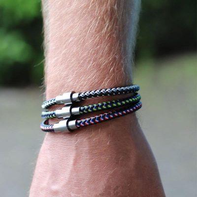 Bracelet Sailor zwart rood blauwe stoere hippe armbanden mannen met zilveren slotje kado mannen online bestellen Bracelet for men
