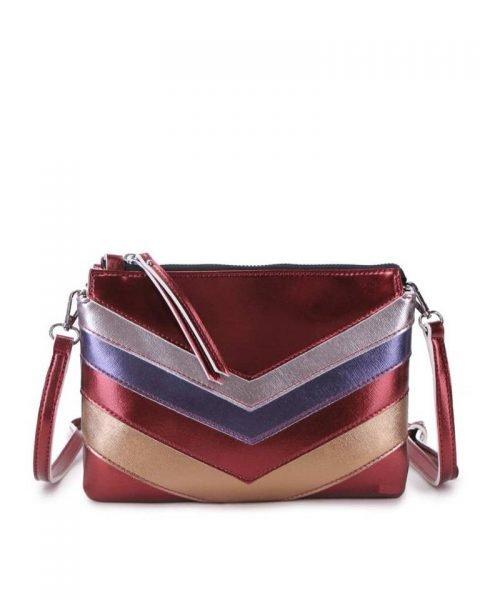Clutch Retro Lines rood rode metallic gekleurde clutch 2 vakjes polsbandje musthave dames kleine tassen giuliano kunstleder