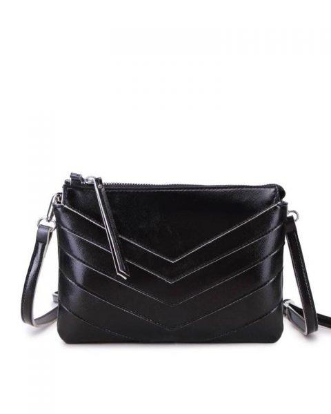 Clutch Retro Lines zwart zwarte metallic gekleurde clutch 2 vakjes polsbandje musthave dames kleine tassen giuliano kunstleder