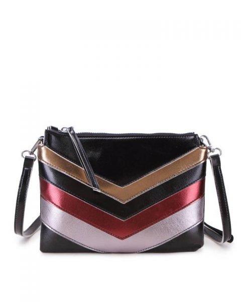 Clutch Retro Lines zwart zwarte rood metallic gekleurde clutch 2 vakjes polsbandje musthave dames kleine tassen giuliano kunstleder
