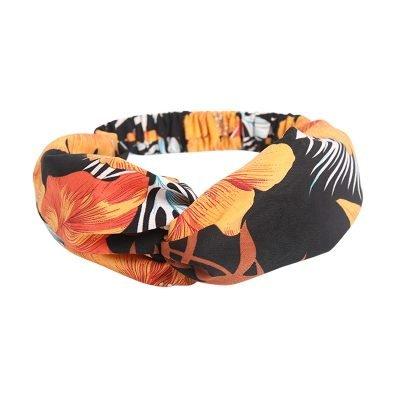 Haarband bloemen zwart zwarte haarbanden gekleurde bloemenprint gele oranje bloem haarbanden knoop musthave headband dames vrouwen online