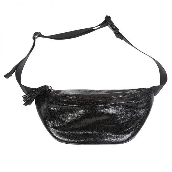 Heuptas Glam Queen zwart zwarte metallic glans Fanny Pack heuptasje dames fashion musthave tassen festival heuptassen rits