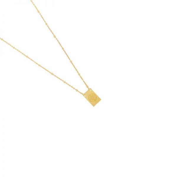 Ketting Let's Wander goud gouden dames ketting met bedel kant met tekst en kompas musthave fashion necklages - kopie