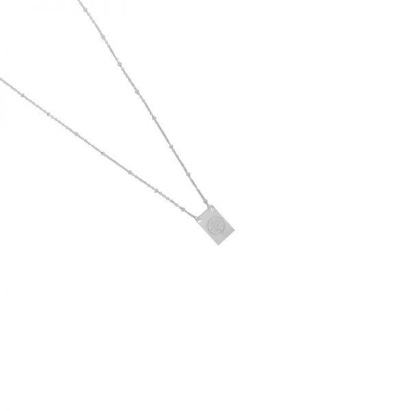 Ketting Let's Wander zilver zilveren dames ketting met bedel kant met tekst en kompas musthave fashion necklages