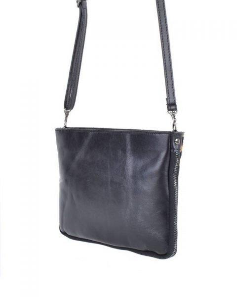 Leren Clutch Schoudertas Koe zwarte zwart clutch dierenhuid koevacht leder giuliano leer kopen bestellen tassen achterkant