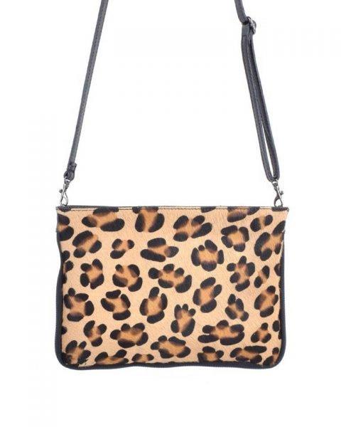Leren Clutch Schoudertas Leopard panter print zwarte zwart clutch dierenhuid koevacht leder giuliano leer kopen bestellen tassen
