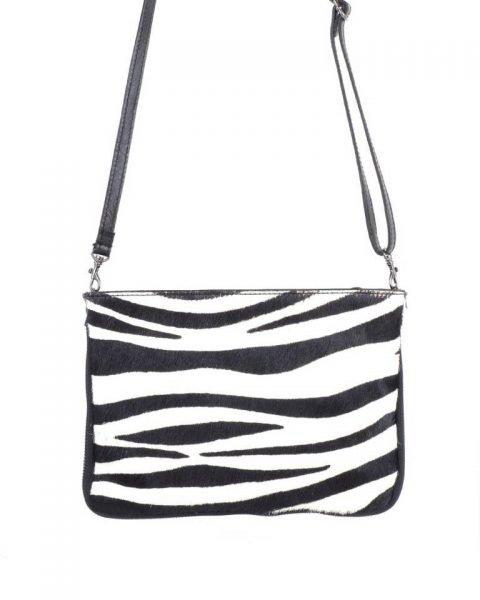 Leren Clutch Schoudertas Zebra zwarte zwart clutch dierenhuid koevacht leder giuliano leer kopen bestellen tassen
