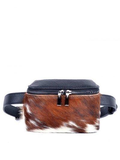 Leren-Heuptas-Koe Dierenvacht-zwart zwarte-beltbag-belt-purse-riemtas-heuptasje-met-riem-fashion-festival-musthave-look-a-like-tassen-online-giuliano-leer-rits