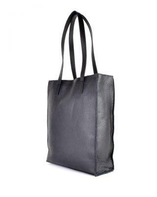 Leren-Shopper-Dierenvacht- zwart zwarte-shoppers grote handtassen -musthave-look-a-like-tassen-online-giuliano-leer- achter