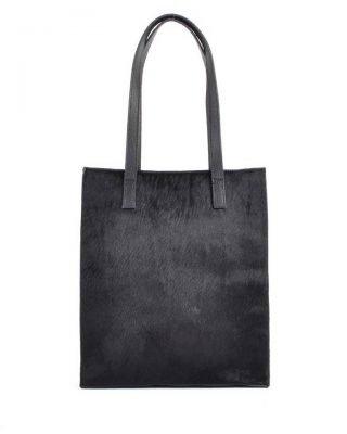 Leren-Shopper-Dierenvacht- zwart zwarte-shoppers grote handtassen -musthave-look-a-like-tassen-online-giuliano-leer-rits